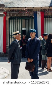 CANFRANC, SPAIN - JULY 18: 90th anniversary of Canfranc Railway Station recreation of the opening in 1928 where all the people in village are characterized on July 18, 2018 in Canfranc, Huesca, Spain