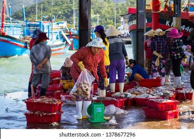 CANG CA VINH LUONG, NHA TRANG, KHANH HOA PROVINCE, VIETNAM - February 05, 2017: Fish market on the pier, women-fishmongers sales seafood