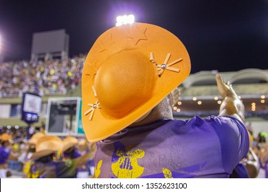 Cangaceiro hat worn by a party in Rio de Janeiro, Brazil - February 24, 2019: Hat very popular in the northeast region of Brazil, known as cangaceiro hat.