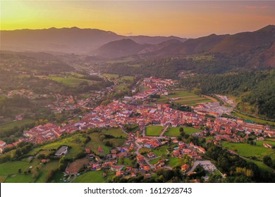 Cangas de Onis, a touristic city in the north of Spain, in the province of Asturias, entrance in the national park of Europe Peaks