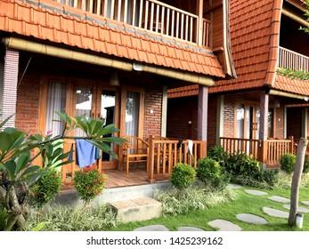 Canggu - Bali, Indonesia - 06 08 2019: Luxury interior of a bungalow room in Canggu, Bali
