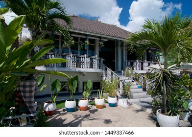Canggu, Bali, Indonesia - 12th June 2019 : View of a beautiful wooden house located in the famous tourist spot Canggu in Bali, Indonesia