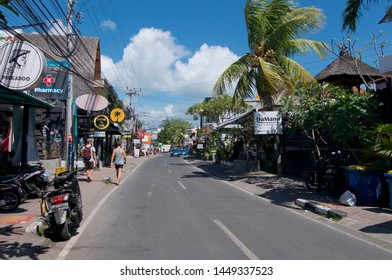 Canggu, Bali, Indonesia - 12th June 2019 : Street view of Pantai Batu Bolong road, famous for his many restaurants and located in Canggu, Bali - Indonesia