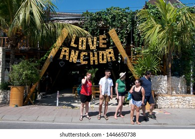 Canggu, Bali, Indonesia - 4th June 2019 : View of the famous Love Anchor Market entrance sign located in Bali tourist hotspot Canggu, Indonesia