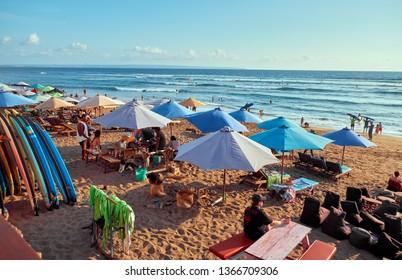 Canggu, Bali, Indonesia - January 11, 2019: Rent surfboard on the beach near the ocean