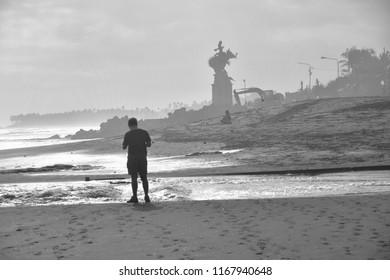 Canggu beach in black and white