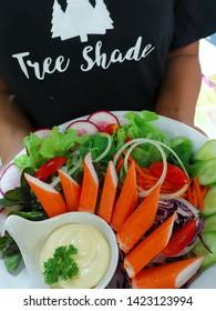 cani salad and creamsause  (thai stye) seve with cabbage carot tomato radish onion watercrash  cani and hydoponic vagies