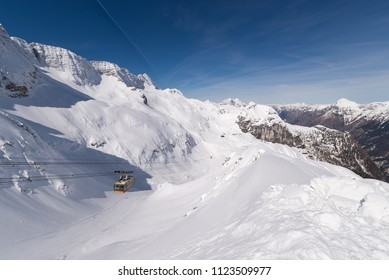 Canin (Kanin) - Sella Nevea is is the highest ski resort in Slovenia located on the slopes of Mt. Canin and Sella Nevea Pass at the Slovenian-Italian border. Triglav National Park, Julian Alps.