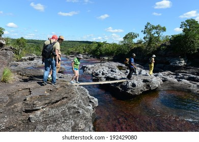 CANIO CRISTALES, COLOMBIA - NOVEMBER 6, 2012: Mountain river Canio Cristales one of  most beautiful rivers of the world. The territory of the river has status of Natural heritage of humanity bu UNESCO