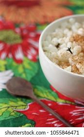 Canjica: brazilian dessert of white corn. Festa Junina Party Brazilian Culture.