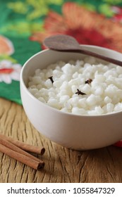 Canjica: brazilian dessert of white corn. Festa Junina Party Brazilian Culture.