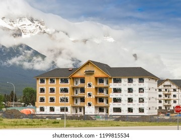 CANMORE, AB, CANADA - JUNE 2018: New apartments being built in Canmore near Banff.