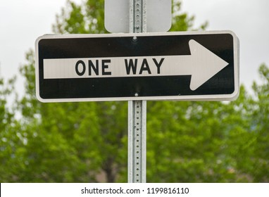 CANMORE, AB, CANADA - JUNE 2018: Close up of a road sign on a one way street in Canmore near Banff.