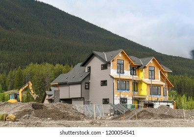 CANMORE, AB, CANADA - JUNE 2018: New homes being built in Canmore near Banff.