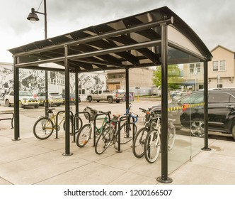 CANMORE, AB, CANADA - JUNE 2018: Covered bike rack for public use in the centre of Canmore near Banff.