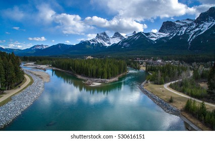 Canmore, AB with Three Sisters