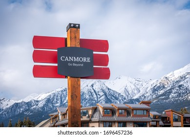 Canmore, Alberta - April 4, 2020: Town of Canmore signage with beautiful mountains in the background.