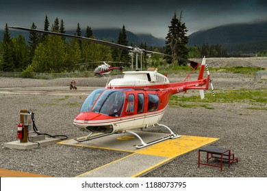 CANMORE, ALBERTA, CANADA - JUNE 2018: Bell 206 Longranger helicopter operated by Alpine Helicopters from its base in Canmore,