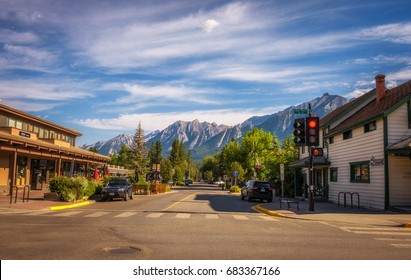 CANMORE, ALBERTA, CANADA - JUNE 26, 2017 : On the streets of Canmore in canadian Rocky Mountains. Canmore is located in the Bow Valley near Banff National Park and is a popular tourist destination.