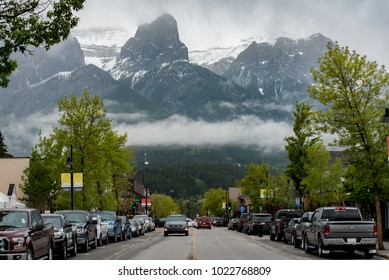 Canmore Alberta, Canada - May 22, 2016:  Looking west on 8th Street in downtown on an overcast spring day.