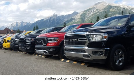 CANMORE, CANADA (ALBERTA) - AUGUST 19, 2019: New Dodge Ram vehicles for sale