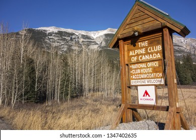 Canmore, Canada - March 20, 2019: Alpine Club of Canada (ACC) Clubhouse Sign at Bow Valley Highway near City of Canmore in Alberta Foothills of Canadian Rocky Mountains