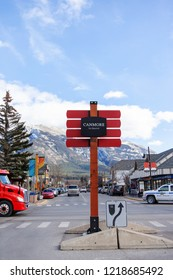 CANMORE, CANADA - OCT. 26, 2018: A sign on the downtown Main street in Canmore Kananaskis of the Canadian Rockies. As a gateway to Banff, the mountainous town draws thousands of visitors annually.