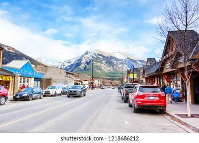 CANMORE, CANADA - OCT. 26, 2018: Downtown Main Street in Canmore Kananaskis of the Canadian Rockies. As a gateway to Banff National Park, the mountainous town draws thousands of visitors annually.
