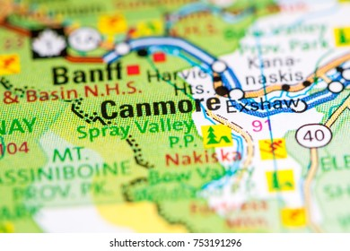 Canmore. Canada on a map.