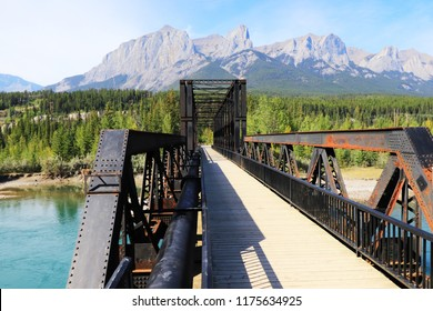 Canmore Engine Bridge, Canmore, Alberta, Canada, mountains view