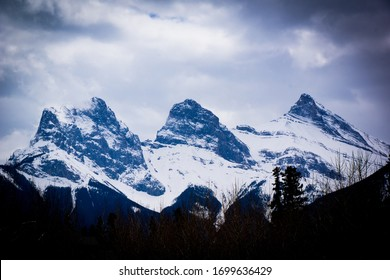 Canmore Three Sisters in the Clouds