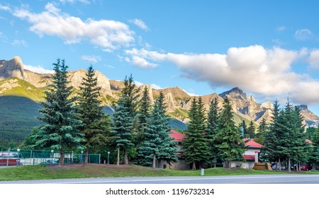 CANMORE,CANADA - JULY 1,2018 - Morning view at the mountains in Canmore. Canmore is a town in Alberta - Canada, located approximately 81 kilometres west of Calgary.