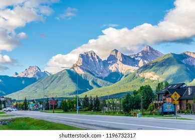 CANMORE,CANADA - JULY 1,2018 - Morning view at the Three Sisters mountains in Canmore. Canmore is a town in Alberta - Canada, located approximately 81 kilometres west of Calgary.