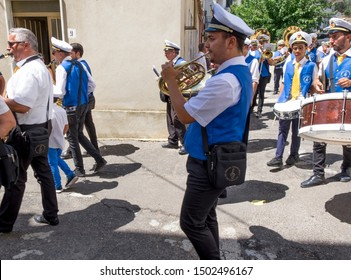 Canna, Cosenza,Italy. 08172019. The musical band accompanies the traditional ceremony of the patron's feast in a small southern Italy' village.