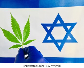 cannabis against the flag of Israel