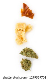 Cannabis bud, crumble, shatter concentrate on white background. Marijuana concentrates.