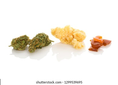 Cannabis bud, rosin, shatter. Marijuana concentrates on white background.