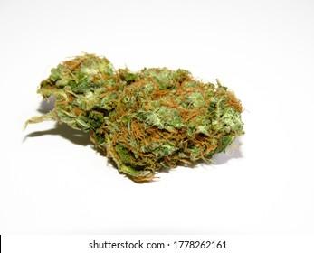 Cannabis buds. Closeup of marijuana buds, isolated on white background.
