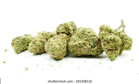 Cannabis Buds, Marijuana on White Background
