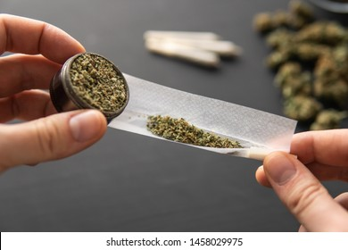 Cannabis buds on black table, rolled joint with weed, close up, grinder in hand with fresh marijuana,