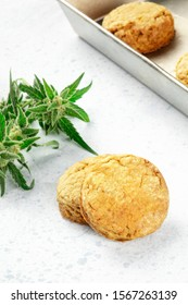 Cannabis buttercookies with marijuana buds, homemade healthy freshly baked biscuits