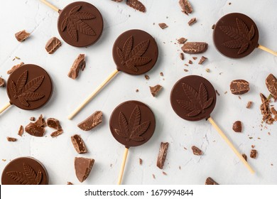 Cannabis CBD Chocolate lollipops for recreational or medicinal consumption. Delicious legal cannabis edibles made with indica sativa hybrid cannabis oil and dark chocolate