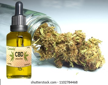 Cannabis CBD oil with cannabis in background