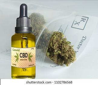 Cannabis CBD oil with cannabis background
