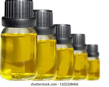 Cannabis CBD oil bottle isolated on white