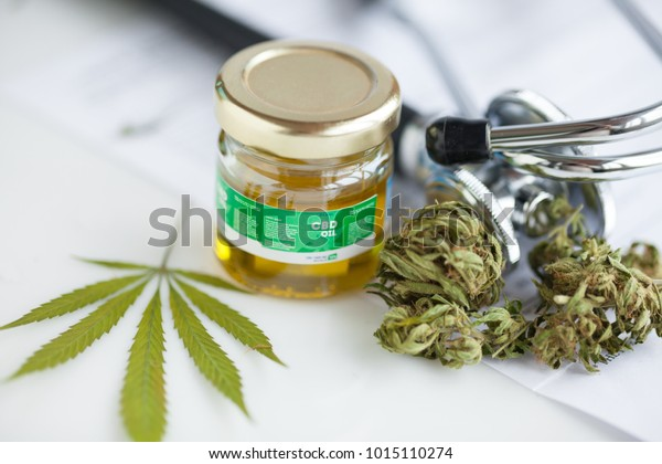 Cannabis Cbd Oil Stethoscope Recipe Stock Photo (Edit Now) 1015110274