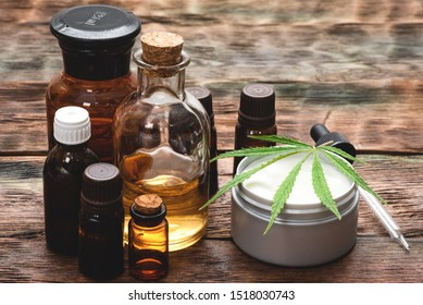 Cannabis face cream or moisturizer jar concept. Natural cosmetic.
