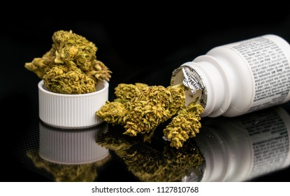 Cannabis filled prescription bottle. Legalization of medical , recreational cannabis. From THC to CBD oil reefer is widely known as a medicine and continues to be decriminalized across America