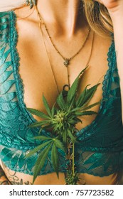 Cannabis Flower and Leaf with Woman's Body