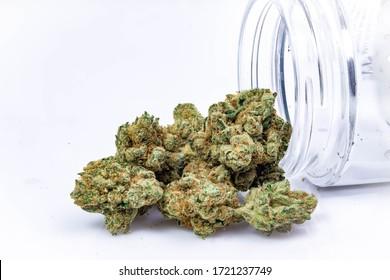 Cannabis Flower Macro Nugs Dried Weed in Jars Legal California Medical Recreational Marijuana up Close